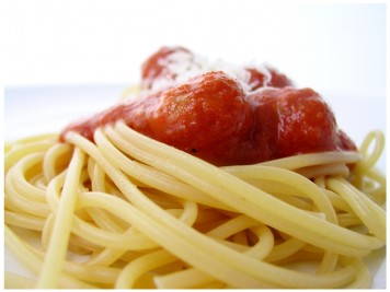 pasta and rich tomato sauce with meatballs