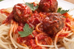 pasta meatballs and the most amazing tangy authentic tomato sauce